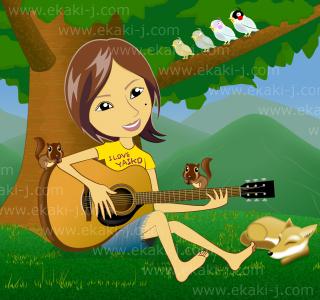 ギター弾き語りの少女のイラスト