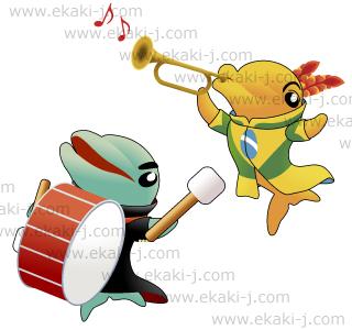 ブラジル国旗の衣装をまとってラッパを吹くイルカと太鼓を叩くイルカ