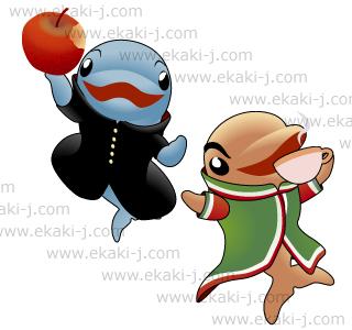 リンゴ好きなイルカとメキシコ国旗の衣装でコーヒーを飲むイルカ応援団