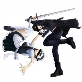 銃を持つメイド服の女性と、剣を持つエナメルコートの男性