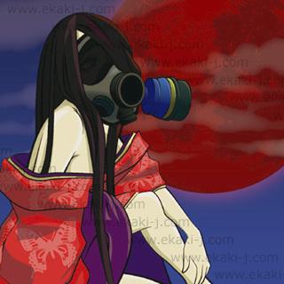 ガスマスクと和服の女性