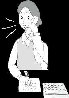 電話でメモをとる女性